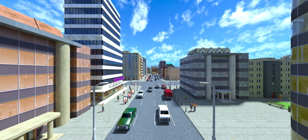 3D CG rendering of cityscape Stockfoto
