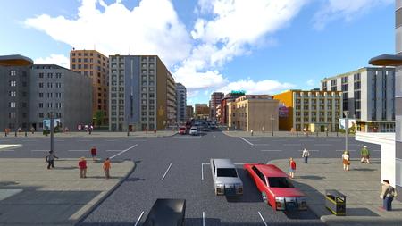 3D CG rendering of cityscape Stockfoto - 122253493