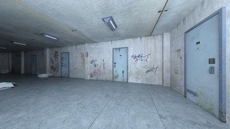 3D CG rendering of Abandoned hallway