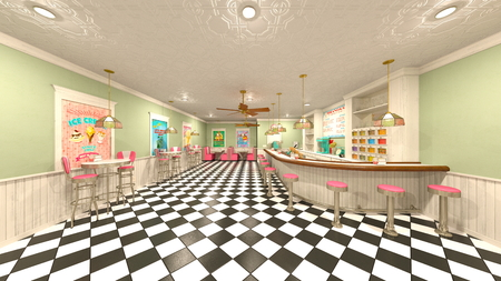 3D CG rendering of cafe