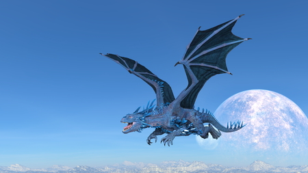 3D CG rendering of Flying Dragon 写真素材 - 123138484