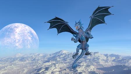 3D CG rendering of Flying Dragon Stock Photo