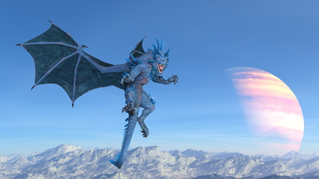 3D CG rendering of Flying Dragon 写真素材