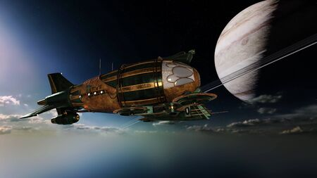 3D CG rendering of space station.