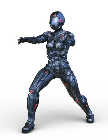 3D CG rendering of cyber woman