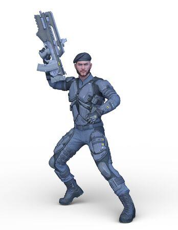 Rendu 3D de cg de soldat Banque d'images