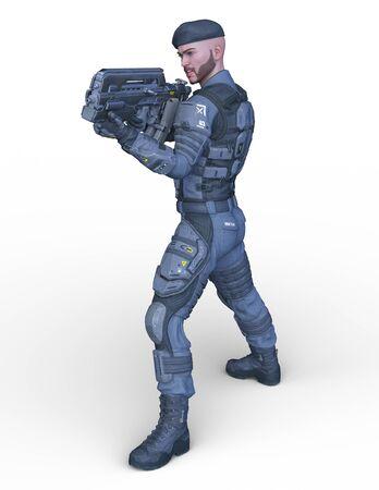 3D CG rendering of soldier