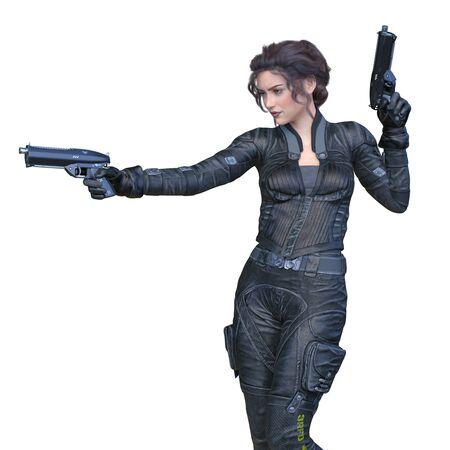 3D CG rendering of heroine Stockfoto - 129023151