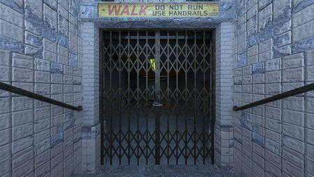 3D CG rendering of Abandoned building 写真素材