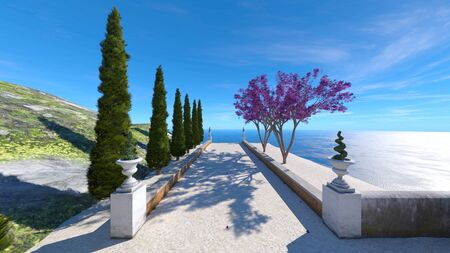 3D CG rendering of terrace