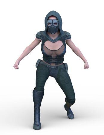 3D CG rendering of soldier woman