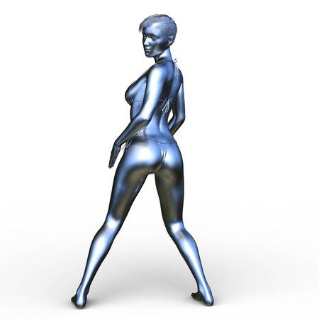 Render 3D de la cg de estatua de mujer