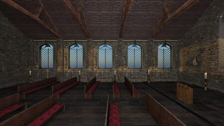 3D CG rendering of church 写真素材