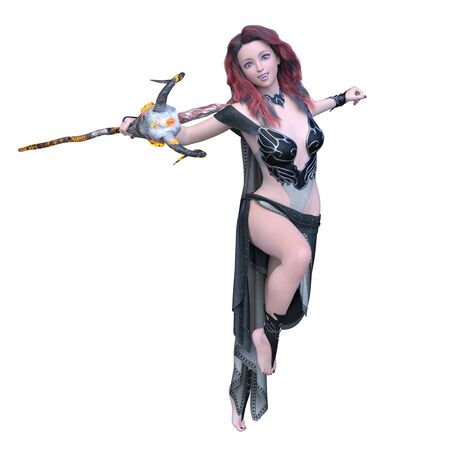 3D CG rendering of Magician woman Stockfoto - 128903551