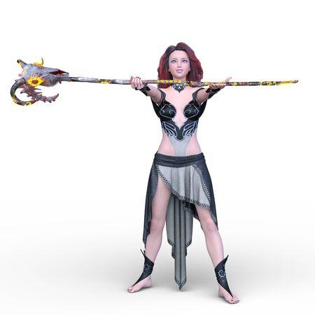 3D CG rendering of Magician woman Stockfoto - 128903525