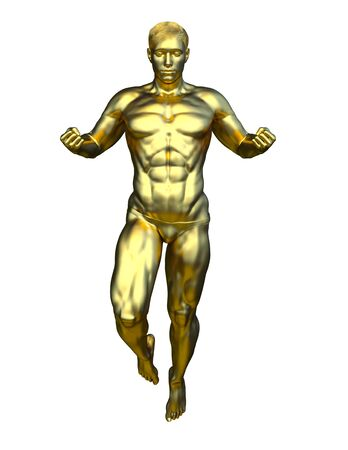 3D CG rendering of gold man statue