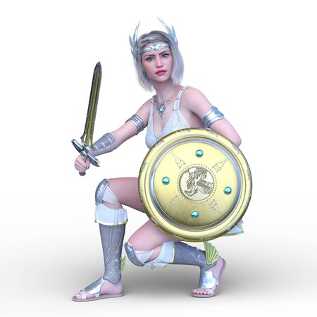 3D CG rendering of Sexy warrior Stockfoto - 128958611