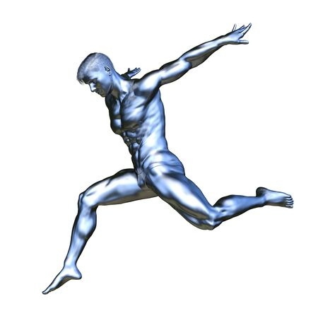3D CG rendering of silver man statue Stock Photo