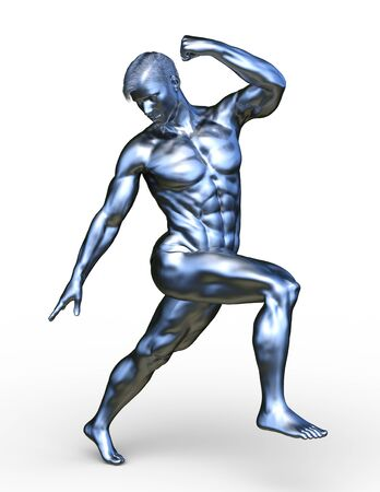 3D CG rendering of silver man statue Фото со стока