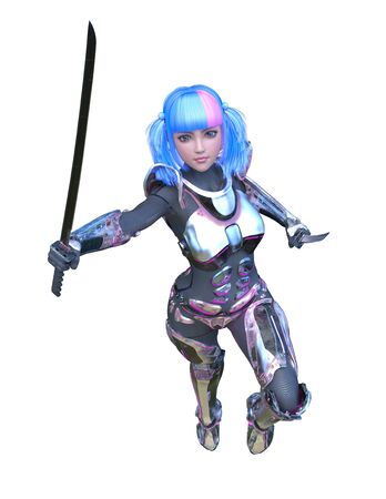 3D CG rendering of cyber woman Stockfoto - 129023501