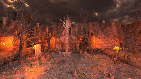 3D CG rendering of Village 写真素材