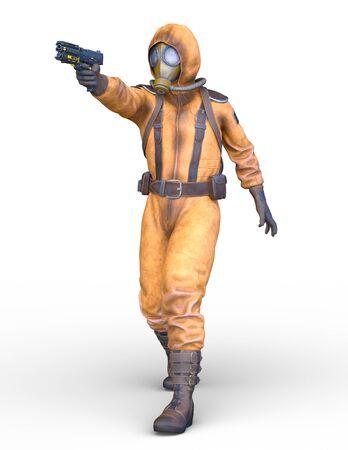 3D CG rendering of gas mask man