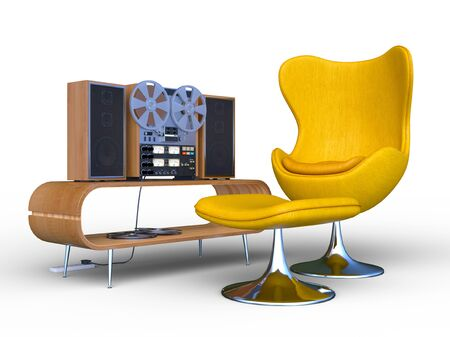 3D CG rendering of Reel-to-Reel Tape Recorders Stok Fotoğraf - 132207474