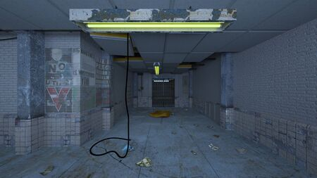 3D CG rendering of Abandoned building Stok Fotoğraf