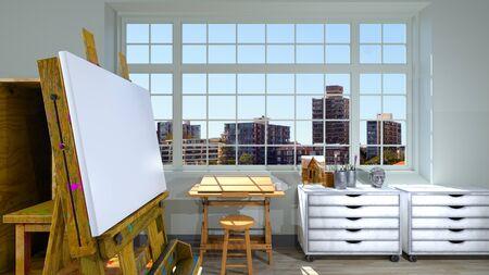 3D CG rendering of Atelier Stockfoto