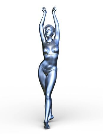 3D CG rendering of silver woman Фото со стока