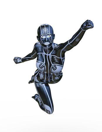 3D CG rendering of cyber woman