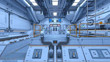 3D CG rendering of space station Archivio Fotografico - 133658403