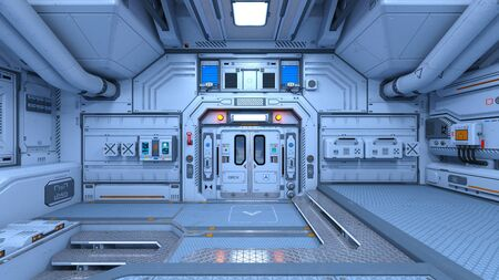 3D CG rendering of space station Archivio Fotografico - 133658405