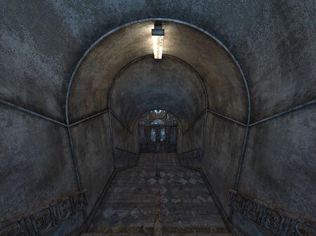 3D CG rendering of Abandoned building Zdjęcie Seryjne