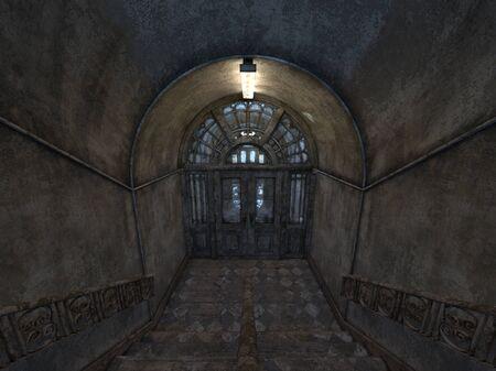 3D CG rendering of building hallway Stok Fotoğraf