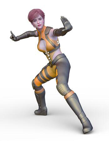 3D CG rendering of costume girl