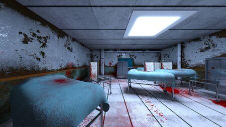 3D CG rendering of Horror Hospital Stockfoto