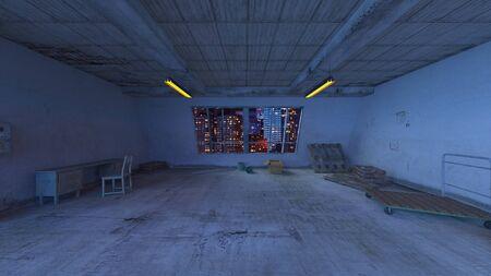 3D CG rendering of Concrete building