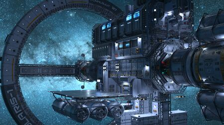 3D rendering of space ship Stock Photo