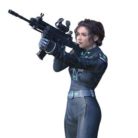 3D rendering of cool woman