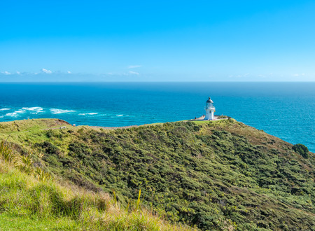 Cape Reign lighthouse at the northern tip of New Zealand photo