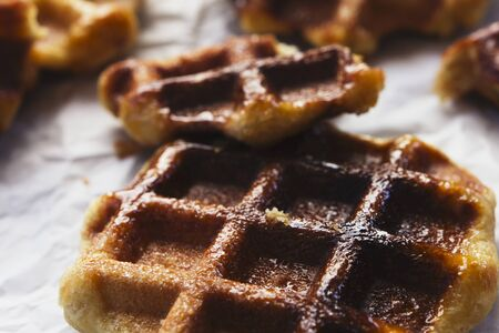 Waffles Liege in close Stock Photo