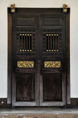 carving: Chinese style door Stock Photo