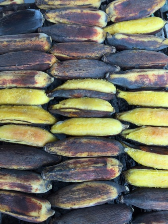 grill: Grilled banana Stock Photo