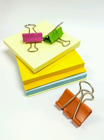 memo pad: paper clips and notepad Stock Photo