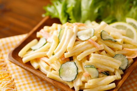 Macaroni salad with Cucumber and carrot