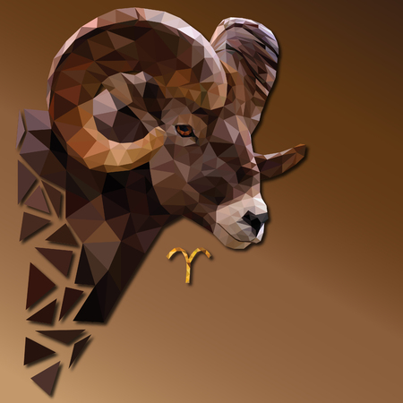 Aries low poly zodiac sign