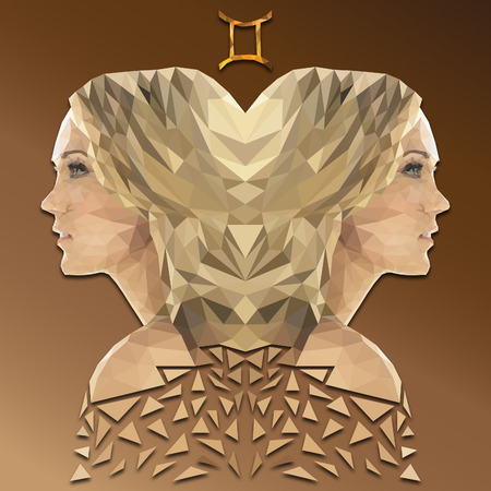 Gemini low poly zodiac sign Standard-Bild - 119484366