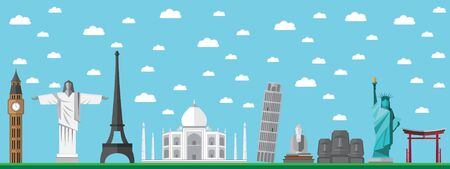 Flat Design Travel Assets Landmarks  Vector Illustration