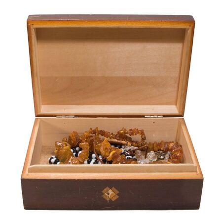 opened old chest with jewellery inside, on white background photo